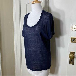 Vince Navy Blue Linen Tee Shirt